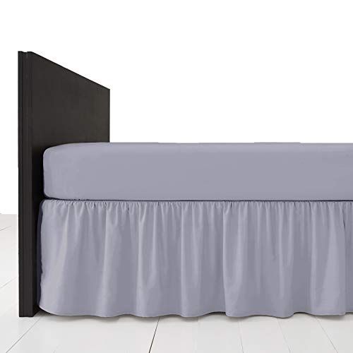 AmigoZone Plain Pollycotton Frilled Bed Base Valance Sheet Grey - Single