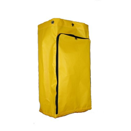 "American Supply Replacement Janitorial Cart Bag 10.5""Wx17.5""Dx32"" Long Vinyl with 6 Solid Brass Grommets and Front Opening Zipper Color Yellow"