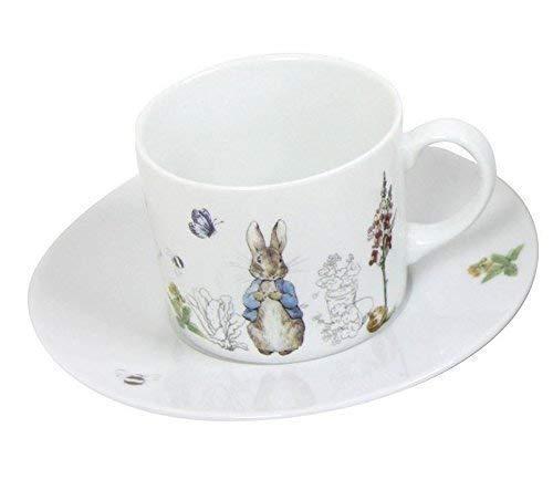 2 X Beatrix Potter Peter Rabbit Blau Grau Weiß Porzellan Tee Cups & Untertassen