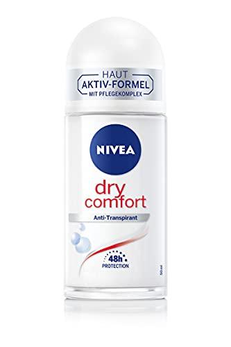 NIVEA Dry Comfort Deo Roll-On (50 ml), zuverlässiges Anti-Transpirant mit Mineralien für ein trockenes Hautgefühl,mit 48h Schutz und Dual-Active-Formel