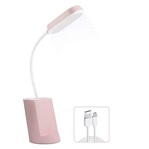 VADIV Lámpara de Escritorio LED con Portalápices y Soporte de Móvil Lámpara de Mesa USB de Carga Brillo de 3 Niveles Control Táctil Plegable Protección para Los Ojos - Rosa