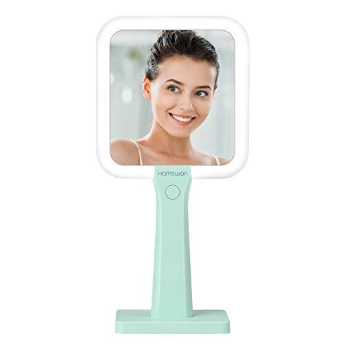 TOGETOP Espejo Maquillaje con Luz LED, Espejo Cosmético con Pantalla Táctil Regulación y Giratoria, para Afeitado y Cuidado Facia, Batería de Litio Recargable, Verde(Mujer/Hombre)