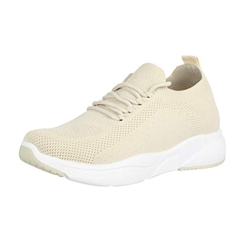 Elara Damen Sneaker Turnschuhe Sport Chunkyrayan LL1762 Beige-38