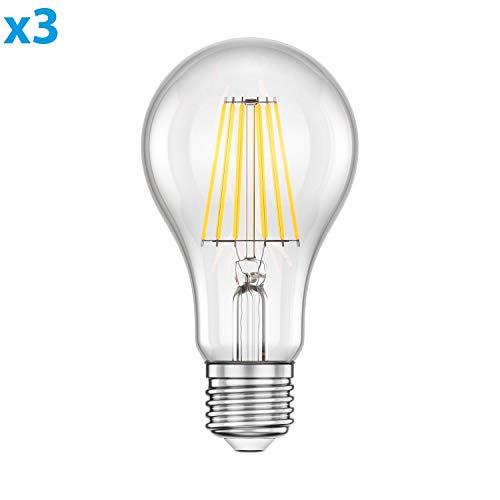 ledscom.de E27 LED Leuchtmittel Glühfaden A70 11W =95W warm-weiß 1500lm A++ auch wetterfest, 3 Stk.