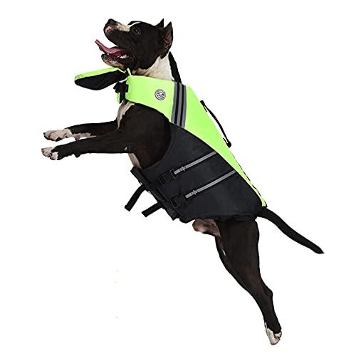 Petglad French Bulldog Life Jacket, Dog PFD, Dog Floatation Vest for Swimming, Superior Buoyancy & Rescue Handle (Green,Medium)