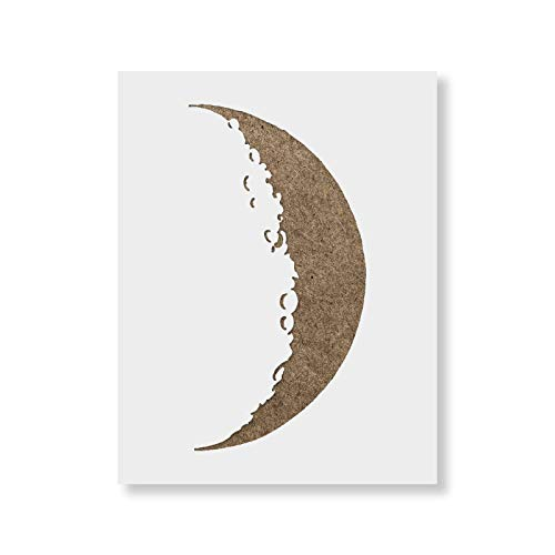 Crescent Moon Stencil - Reusable Stencils for Painting - Mylar Stencil for DIY Projects and Crafts