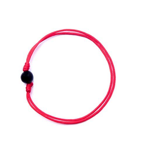 BOW, Pulsera Hilo Rojo Nylon Azabache 6 ó 7mm contra