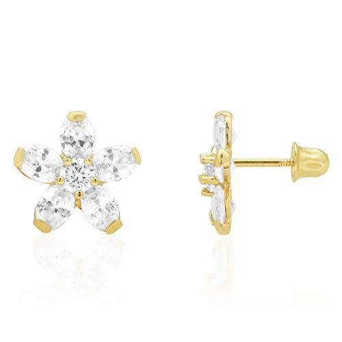 Pendientes de tuerca ovalados con diseño de flores de diamante para bebé, oro amarillo de 14 quilates