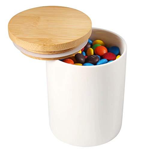 77L Keramik Vorratsdose mit Luftdichtem Verschluss Bambusdeckel, 302 ML (10.09 FL OZ) Keramik Vorratsdose - Modernes Design Weißer Vorratsbehälter aus Keramik zum Servieren von Tee, Kaffee und mehr