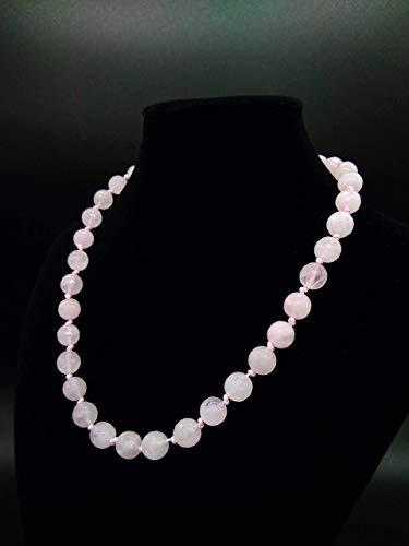 Collana donna artigianale girocollo in Quarzo Rosa Sfaccettato 10 mm, Gemme Naturali, Pietre Dure, Fatta a Mano, Chiusura a Ciambella