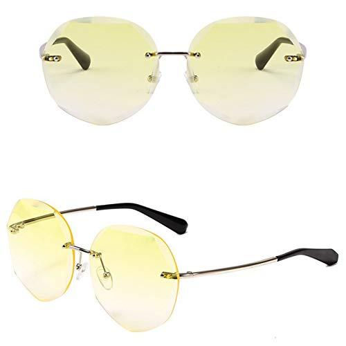 Ashtray Gafas de Sol graduadas para Mujer, Gafas de Sol sin Montura de Metal con Bordes Cortados, adecuadas para Conducir, Correr, Andar en Bicicleta, Viajar, etc,3