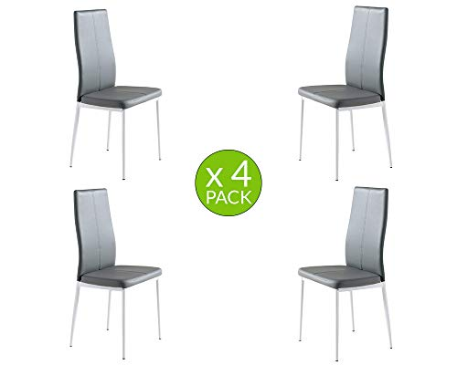 MOMMA HOME Set de 4 Sillas - Modelo LUCI - Color Gris/Blanco - Material Ecopiel/Metal -Sillas de Comedor