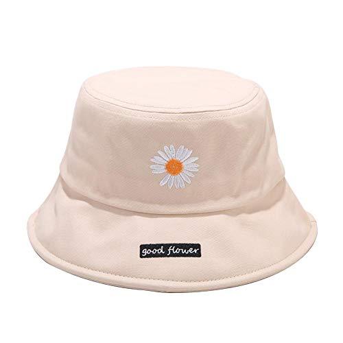 Drawihi Daisy bestickter Fischerhut Streifenmuster Bucket Hat Damen Sommer Sonnenhut breite Krempe Outdoor Damen faltbar 56–58 cm Beige