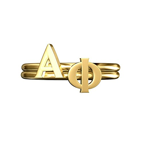 A-List Greek APhi Sorority Gifts, Alpha Phi Greek Letter Stack Rings, Sorority Jewelry, Adjustable Band Gold Plated, Cute for Bid Day, Rush, Big Littl