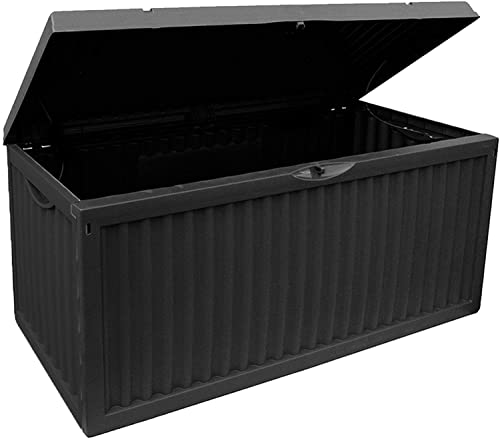 idooka 336 Litre Large Garden Storage Box Waterproof - Heavy Duty Plastic Container Boxes - Garden Furniture Cushions, Outdoor Welly Storage Ottoman, Log Store, Coal Bunker- Grey Parcel Patio Deck Box