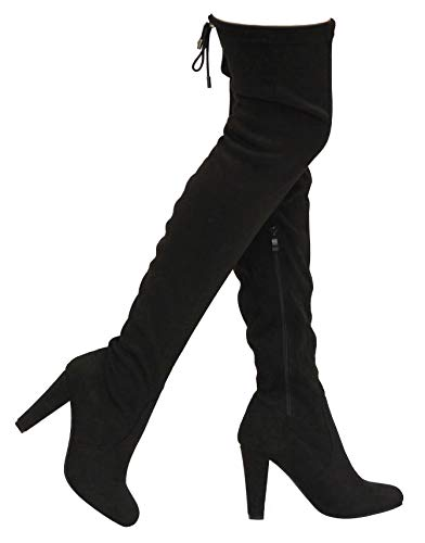 MVE Shoes Women's Stretch Thigh High Heeled Boots, EVE-01 Black 6