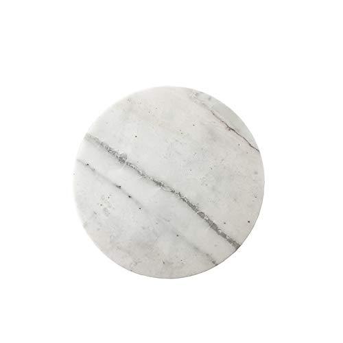 Knüllermarkt 32097-001 I Marmor Servierplatte rund Tablett Marble grau weiß Servierbrett Natur modern Deko 20cm