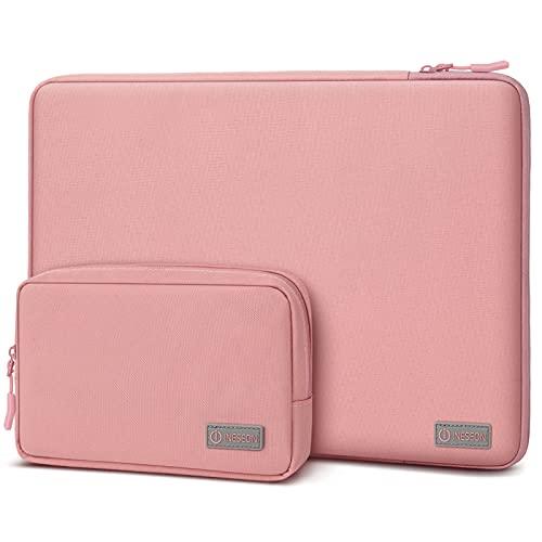 I INESEON 14 Pulgadas Funda Ordenador Portátil para HP Lenovo Acer DELL Notebook Chromebook, MacBook Pro 15, 15 Pulgadas Surface Laptop 3 Funda Protectora con Bolsa de Accesorios, Rosa