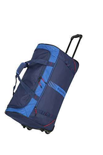 travelite 2-Rad Trolley Reisetasche Größe L, Gepäck Serie Basics Active: Weichgepäck Reisetasche mit Rollen im frischen Design, 096282-20, 71 cm, 86 Liter, Marine/rot