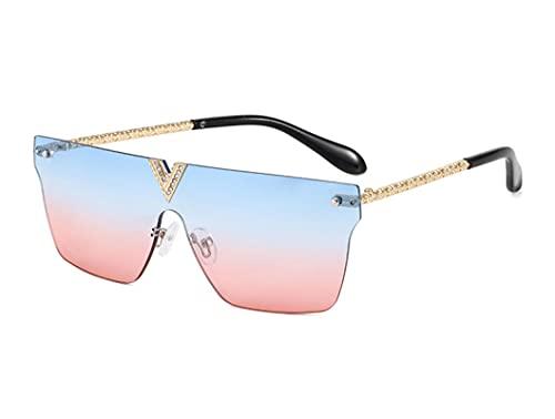 JINZUN Gafas de Sol Retro Tendencia Gafas de Sol cuadradas con Montura Grande Anti-UV Sombrilla Espejo Unisex Azul en Polvo