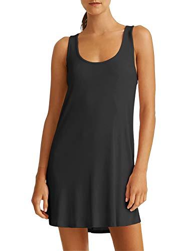 Chemise de Nuit Femme Fond de Robe Larges Bretelles avec Soutien-Gorge Intégré Noir Large