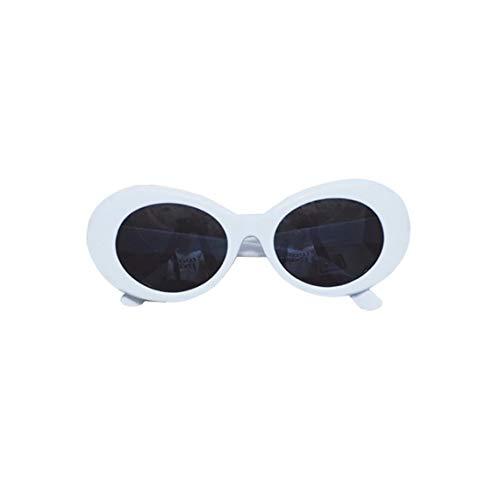 Martinrenault Moda para Mujer Verano Bold Retro Oval Mod Gafas de Sol de Montura Gruesa Clout Goggles Gafas de protección UV con Lente Redonda 51mm - Blanco-Gris