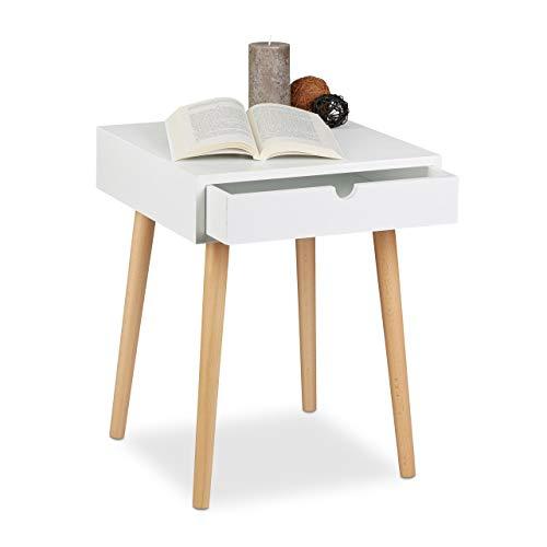 Relaxdays nachtkastje Arvid met lade, nachtkastje, hout, poten natuur, nachtkastje in Scandinavisch design, h x b x d: ca. 50,5 x 40 x 40 cm, wit
