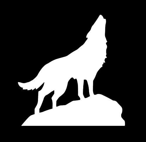 Amazon 狼 おおかみ オオカミ Wolf ウルフ 遠吠え 動物 ロック 岩 シルエット マーク ステッカー シール デカール ホワイト シール ステッカー おもちゃ