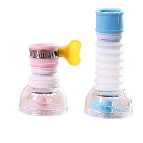 XINGSUI Boquilla de grifo giratoria a prueba de salpicaduras de 2 piezas, dispositivo de ahorro de agua del grifo, utilizado en grifos plegables de cocina, baño y ducha (2 colores)