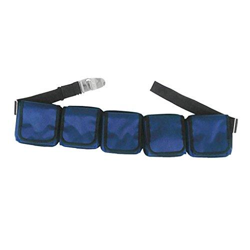 perfk Premium Tragecomfort Taschenbleigurt mit Edelstahlschnalle Tauchgurt mit Taschen - mit 3 Taschen