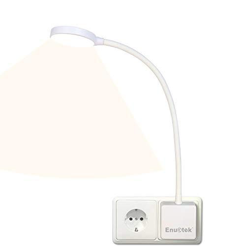 Lampara de Lectura Pared de LED Flexible Regulable Blanco con Enchufe y Interruptor Tactil 4W Brillo Máximo 350Lm Luz Neutra 4000K sin Funcion de Control Remoto Lot de 1 de Enuotek