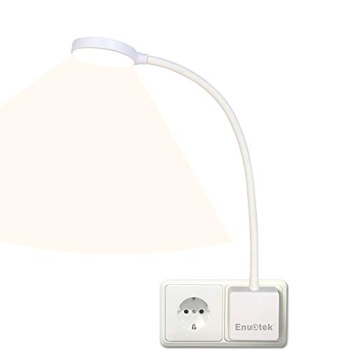 Lampara de Lectura Pared de LED Flexible Regulable Blanco con Enchufe y Interruptor Tactil 4W Brillo Máximo 350Lm Luz Neutra 4000K sin Funcion de Control Remoto Lot de 1 de Enuotek