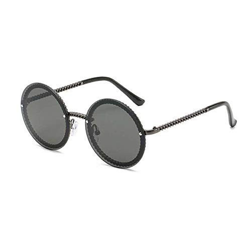 ZJMIYJ zonnebril, unieke metalen ketting, rond, zonnebril, dames, heren, vintage, dames, zonder ketting, zwart