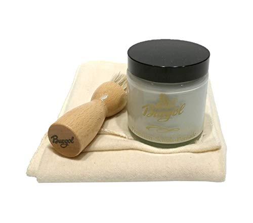 Burgol Glattlederpflege Schuhpflegeset mit Premium Schuhpomade farblos Tiegelbürste Baumwolltuch