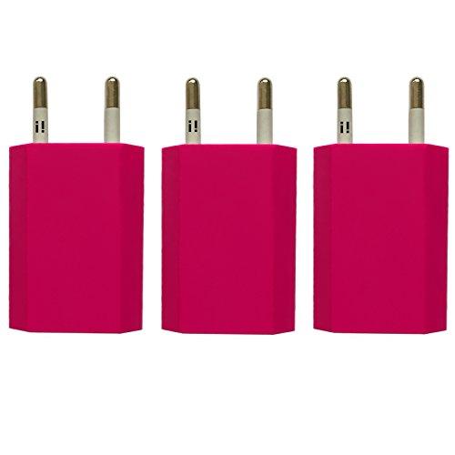 [i!®] Enchufe adaptador de puerto USB, enchufe de cargador, conector de 5 V/1A compatible con [Apple iPhone 6,6Plus, 6S, 5,5C, 5S, Samsung Galaxy S2,S3,S4,S5,S6,S6,Edge Tab 3Note 2/3/4, HTC One, Google LG Nexus 4/5/6/7 Nokia Lumia, Sony Xperia, y muchos más],multicolor