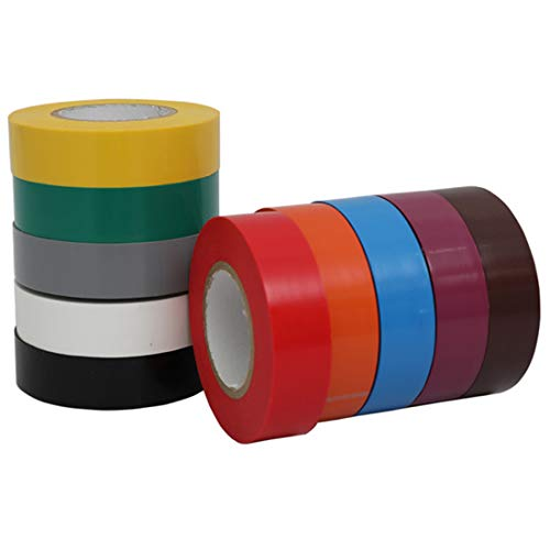WELSTIK Electrical Tape Colorful 10 Rainbow Colors 3/4' x 60',Waterproof, Flame Retardant, Strong Rubber Based Adhesive - Suitable for Use at No More Than 600V