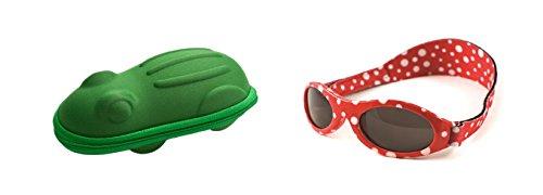 Yoccoes Designs Babybanz 0 bis 2 Monate Sonnenbrille, Roter Punkt und ein Yoccoes Sonnenbrille Fall - Grüner Frosch
