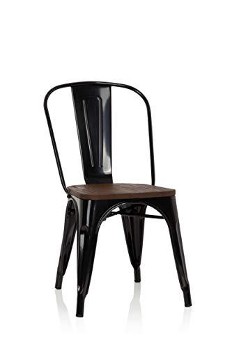 hjh OFFICE 645045 Bistrostuhl VANTAGGIO Comfort W Metall/Holz Schwarz Stuhl im Industry-Design mit Holz-Sitzfläche, stapelbar