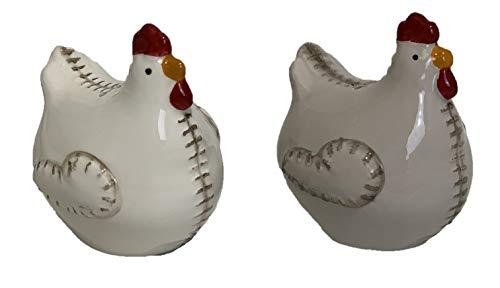 Salz- und Pfefferstreuer aus Keramik, Motiv: Hühner, genäht