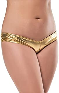 71e4e42e7602 MPITUDE Women's Low Waist Metallic Faux Leather Shiny Panty Sexy G-String  Thong Fancy Panties