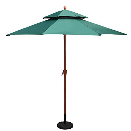 Sombrillas Parasol Jardin Playa Al Aire Libre 2,7 M / 9 Pies, Jardín de Madera de Grano con Manivela Y 8 Costillas Resistentes (Color : Dark Green)
