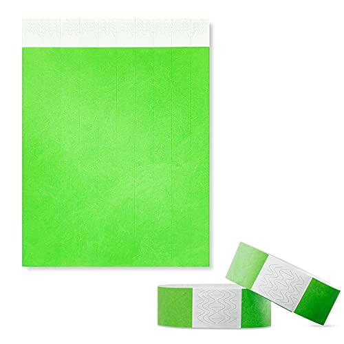100 unidades de pulseras de entrada, resistentes al agua, imprimibles para control y seguridad en eventos y eventos, 19 x 255 mm (Verde)