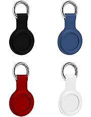 Berrywho 4 Pcs Silikon Airtag case,Airtag holder,Airtag spigen,Airtag nyckelring(Svart+Blå+Röd+Vit)