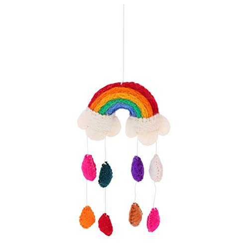 NUOBESTY Rainbow Baby Crib Mobile Felt Pom Pom Shell Cloud Ceiling Raindrop Weather Wind Chimes Hanging for Nursery Kindergarten Bedroom Baby Shower Party Supplies