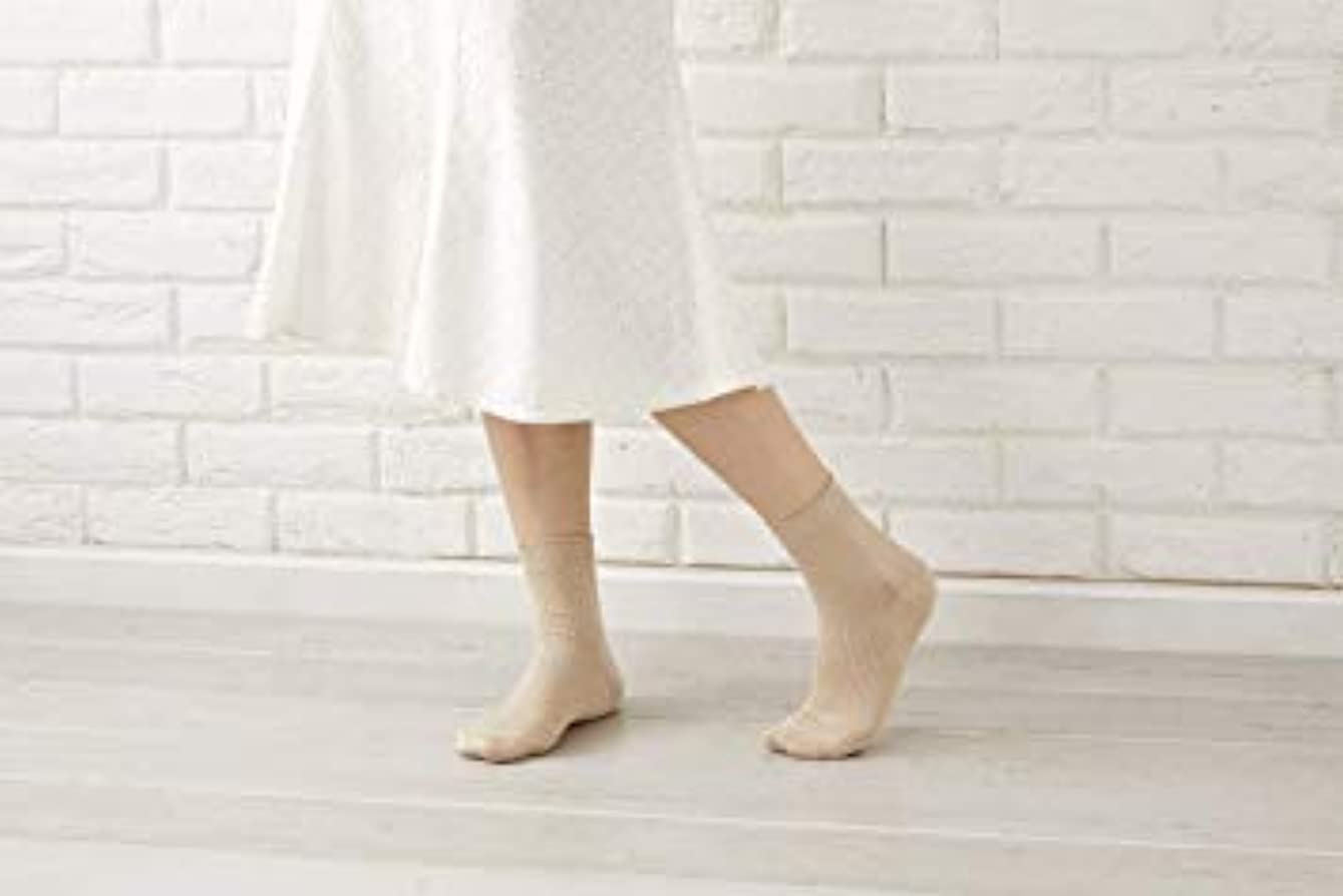 二十摂動気候の山婦人用 最高級 シルク100% 使用 定番 靴下 リブ 22-24cm 太陽ニット 512 (ピンク)