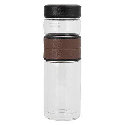 Emoshayoga Taza de separación de té de Doble Pared Tazas de té de Vidrio Botella de separación de té con diseño de Vidrio de borosilicato de Doble Capa para Hacer té(marrón)