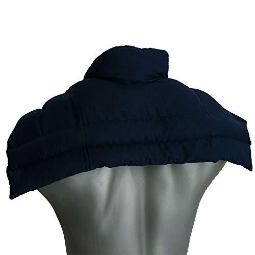 Kirschkernkissen Schulter & Nackenkissen mit Kragen. Wärmekissen Nacken für Mikrowelle (Farbe: dunkelblau, Kirschkerne)
