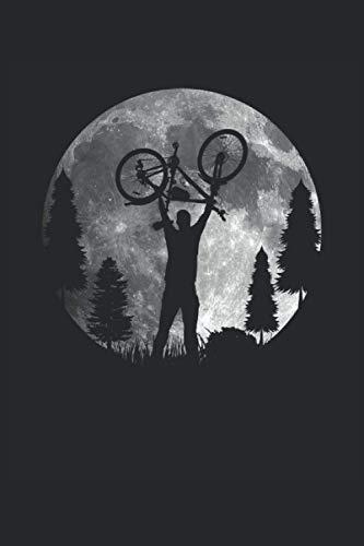 Biker Fahrrad Mond Licht Rennrad Silhouette Bike MTB Natur Wald: NOTIZBUCH - Lustiges Radfahrer Mond Fahrrad Geschenk, Geschenkidee - A5 (6x9) - 120 ... Planer, Geburtstag, Lustig, Mountainbike