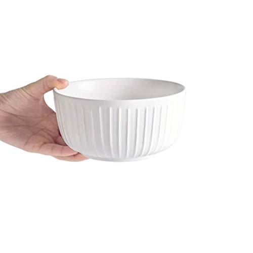 GWSGSCSL Personality Snack Round Bowl, Creativity Vertical Stripes Bowl Dessert Bowl Noodle Bowl Kitchen Utensils (Color : White)