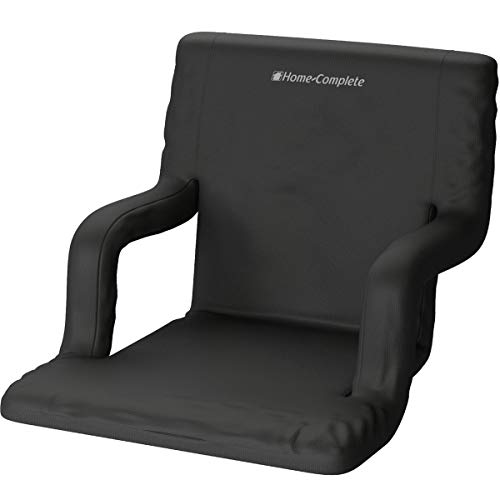Home-Complete Stadium Seat Chair- Bleacher Cushion with Padded Back Support, Armrests, 6 Reclining Positions and Portable Carry Straps, Black, Regular (514305MWZ)